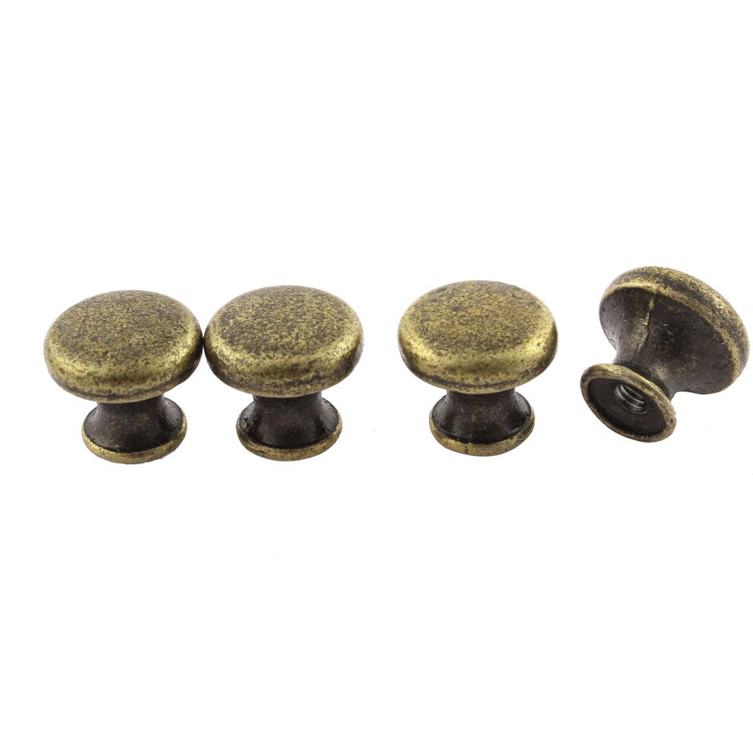 4Pcs Cabinet Door Metal Single Hole Pull Handles Bronze Tone 14mm Height