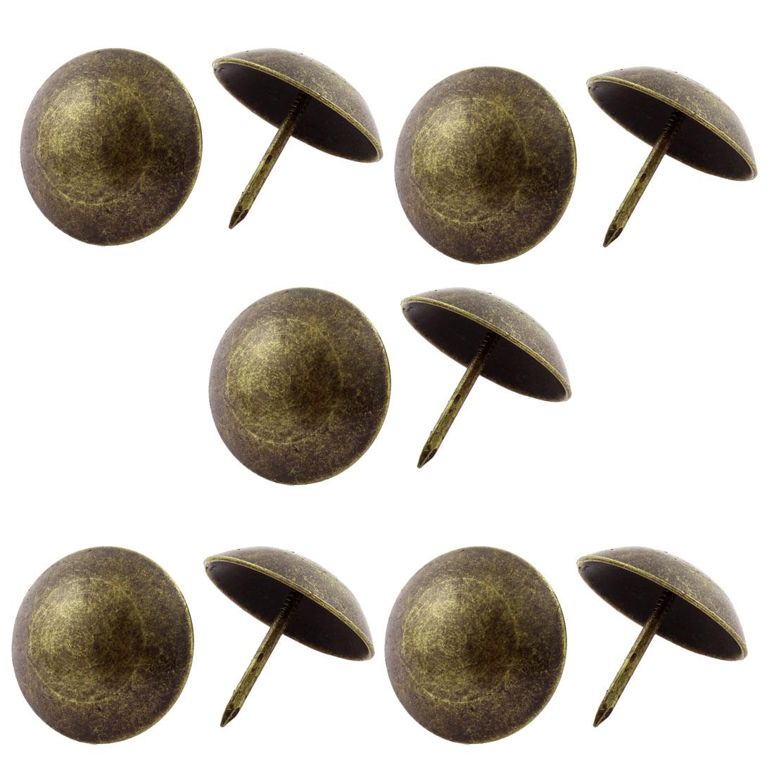 2cm Dia Metal Round Pin Furniture Decorative Domed Nail Bronze Tone 10Pcs