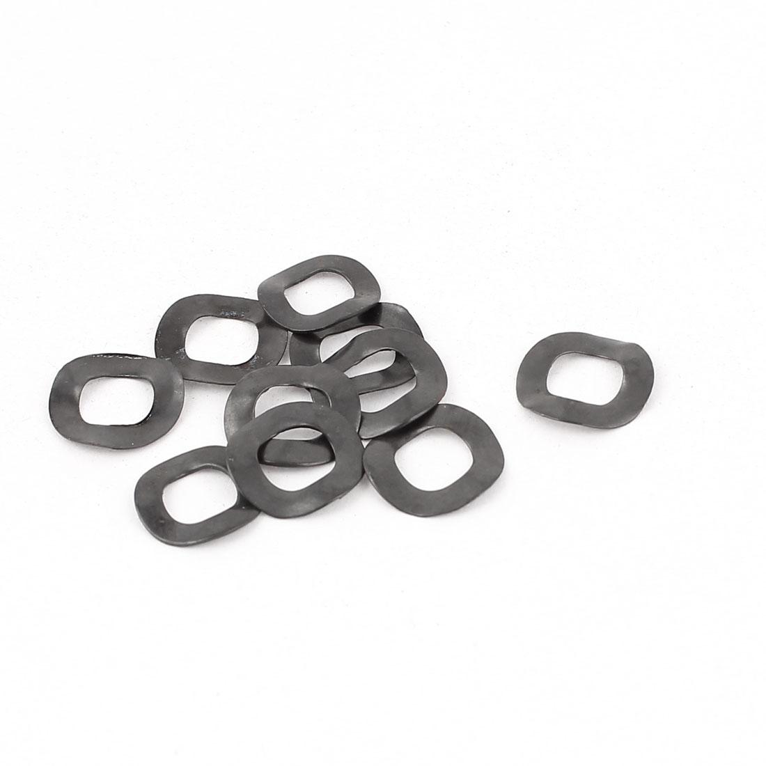 10 Pcs Black Metal Wave Crinkle Spring Washer 6mm x 11mm x 0.3mm
