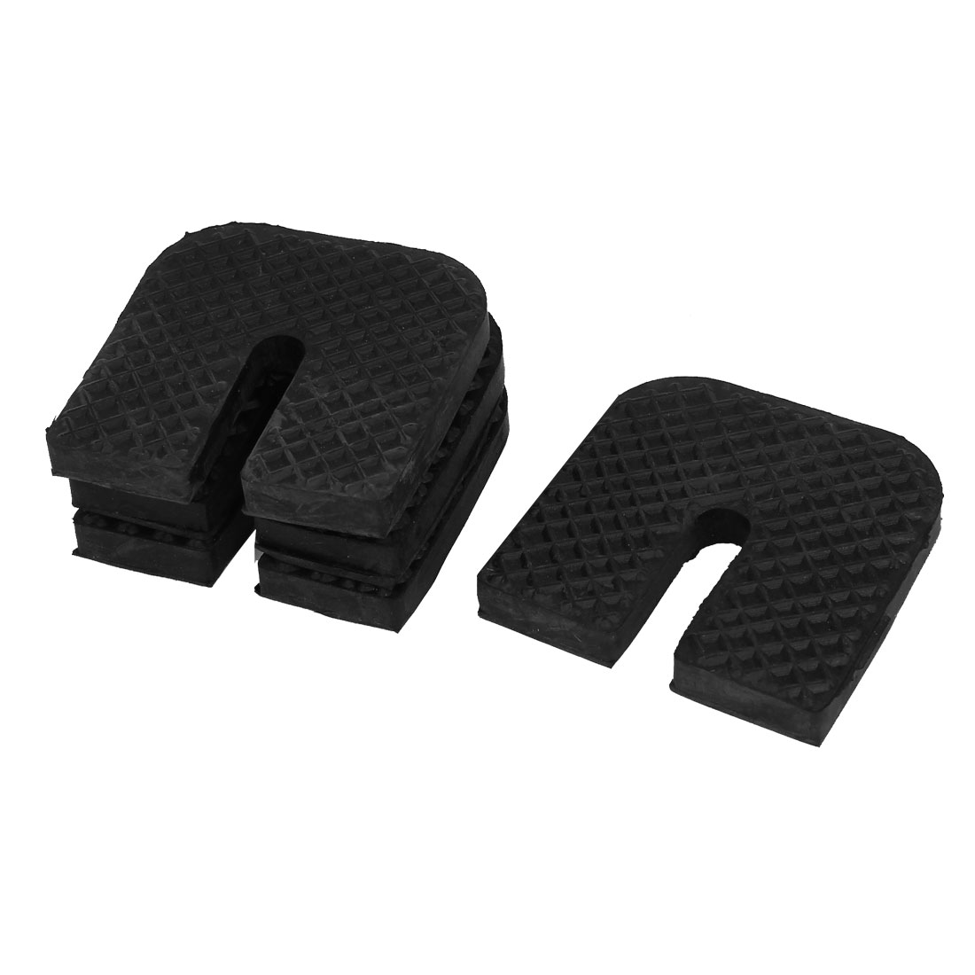 Black Rubber U Design Furniture Table Chair Foot Protector Pads 4pcs