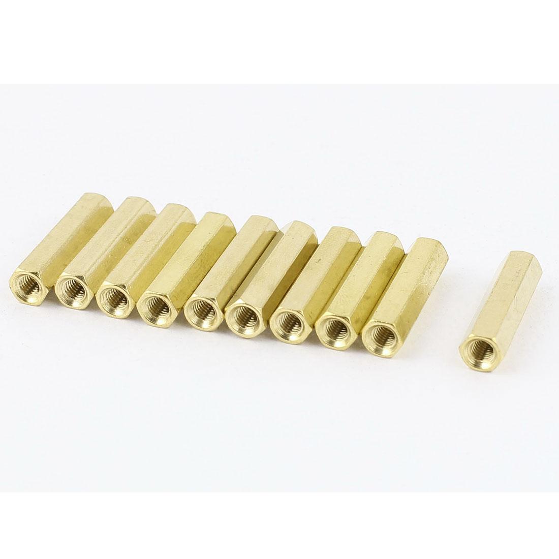 M3 x 20mm Female/Female Thread Brass Hex Standoff PCB Pillar Spacer 10pcs