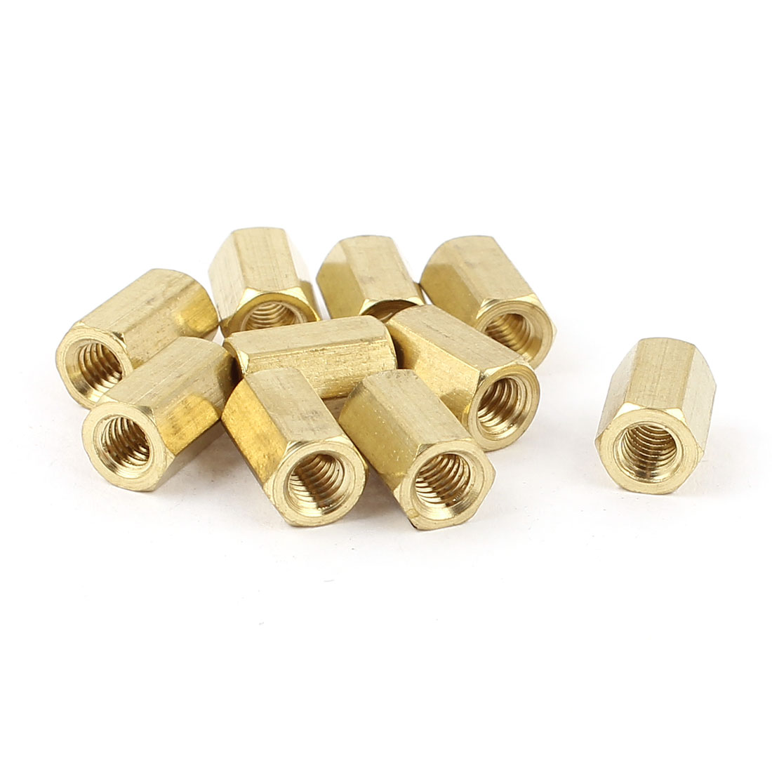 M4 x 10mm Female/Female Thread Brass Hex Standoff PCB Pillar Spacer 10pcs