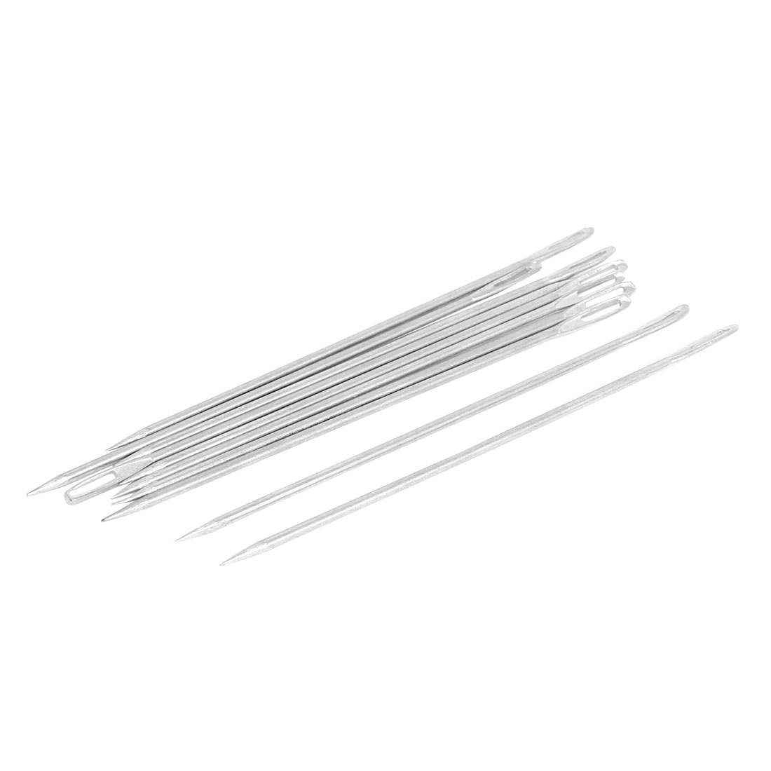 Silver Tone Metal Bag Packing Straight Tip Stitching Needles 12cm Length 10pcs