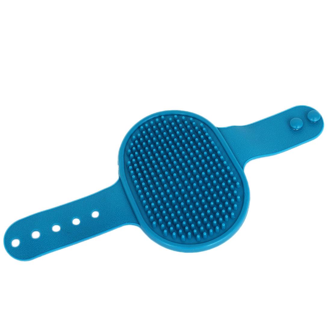 Adjustable Rubber Massage Pet Cat Dog Fur Hair Grooming Bath Brush Comb Cyan