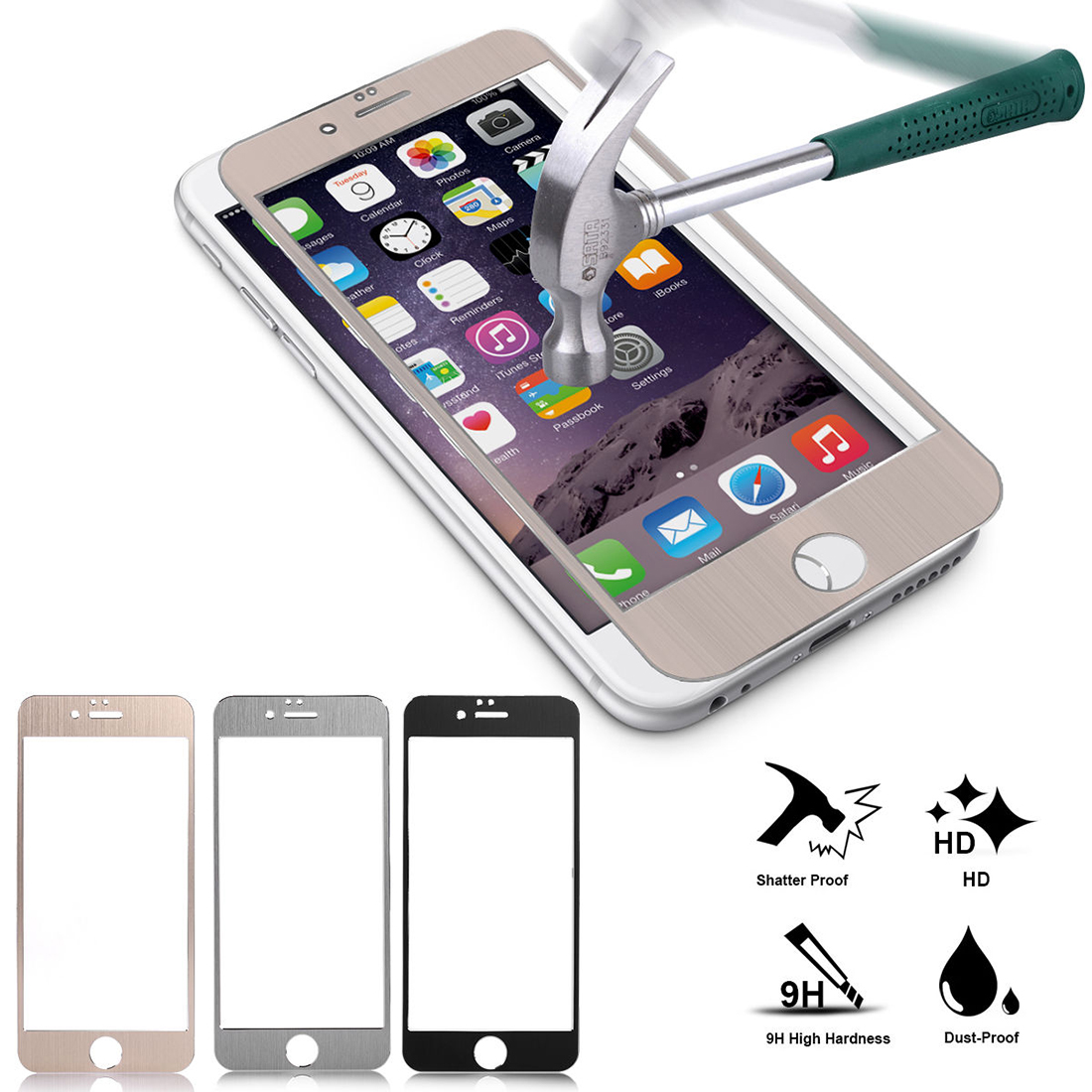 Front Back Mirror Effect Tempered Glass Screen Protector For iPhone 6 Plus Black