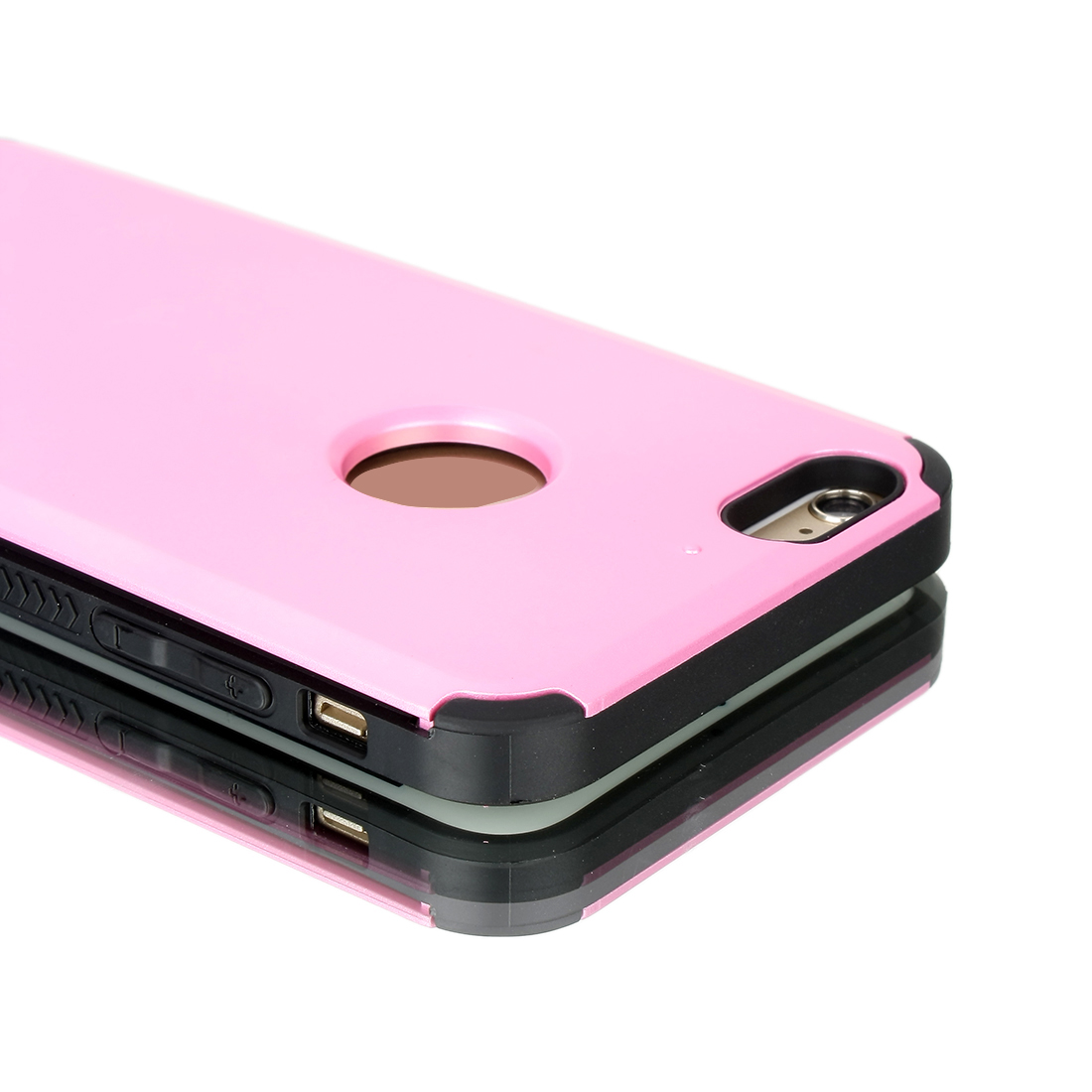 Card Pocket ShockProof Slim Hybrid Wallet Case Cover Pink for iPhone 6 Plus 5.5""
