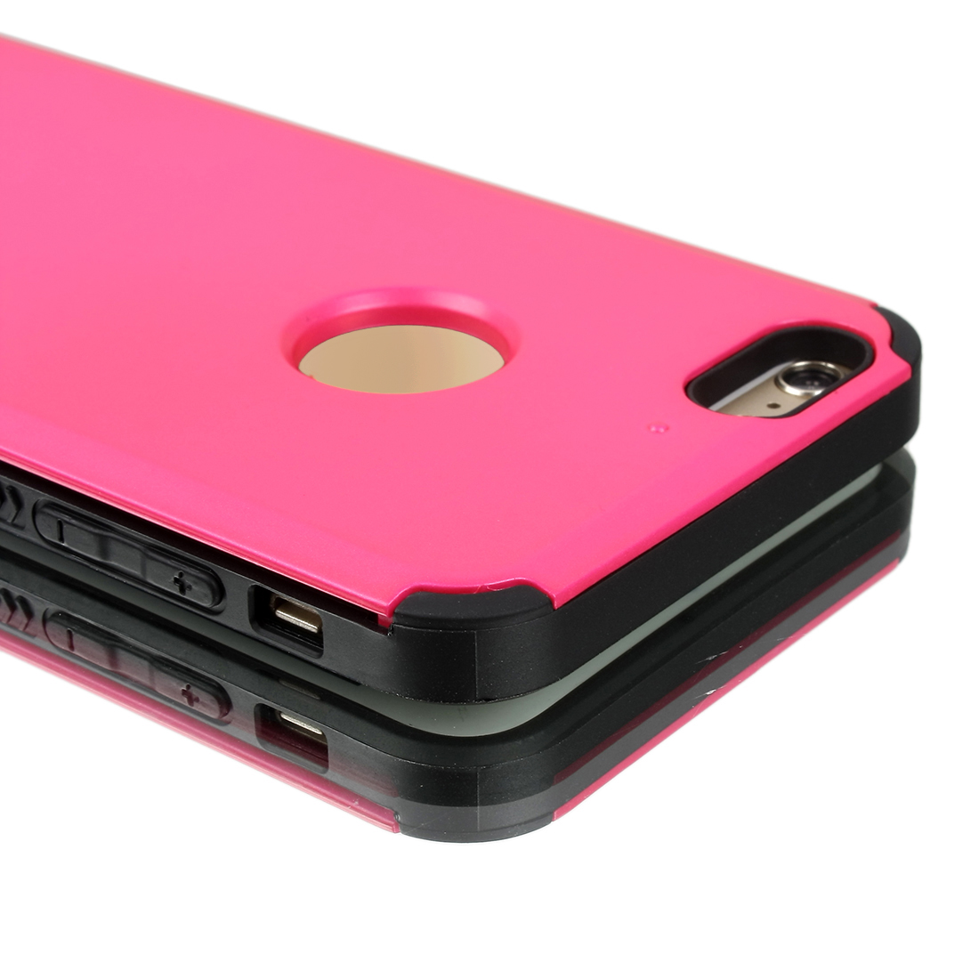 Card Pocket ShockProof Slim Hybrid Wallet Case Cover Fuchsia for iPhone 6 Plus 5.5""