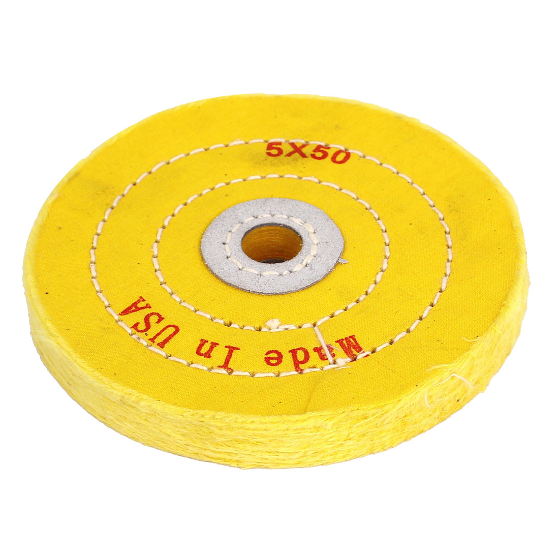 "5/8"" Arbor Hole 5"" Dia 50-Ply Cotton Muslin Jewelry Polishing Wheel Yellow"