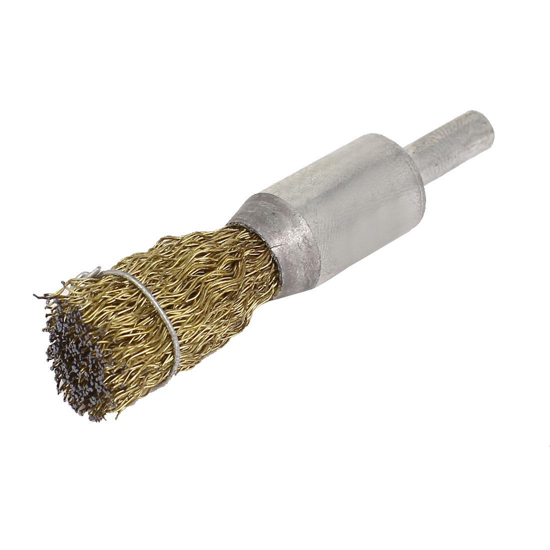 6mm Round Shank 15mm Diameter Steel Wire Wheel Brush Hand Tool 70mm Long