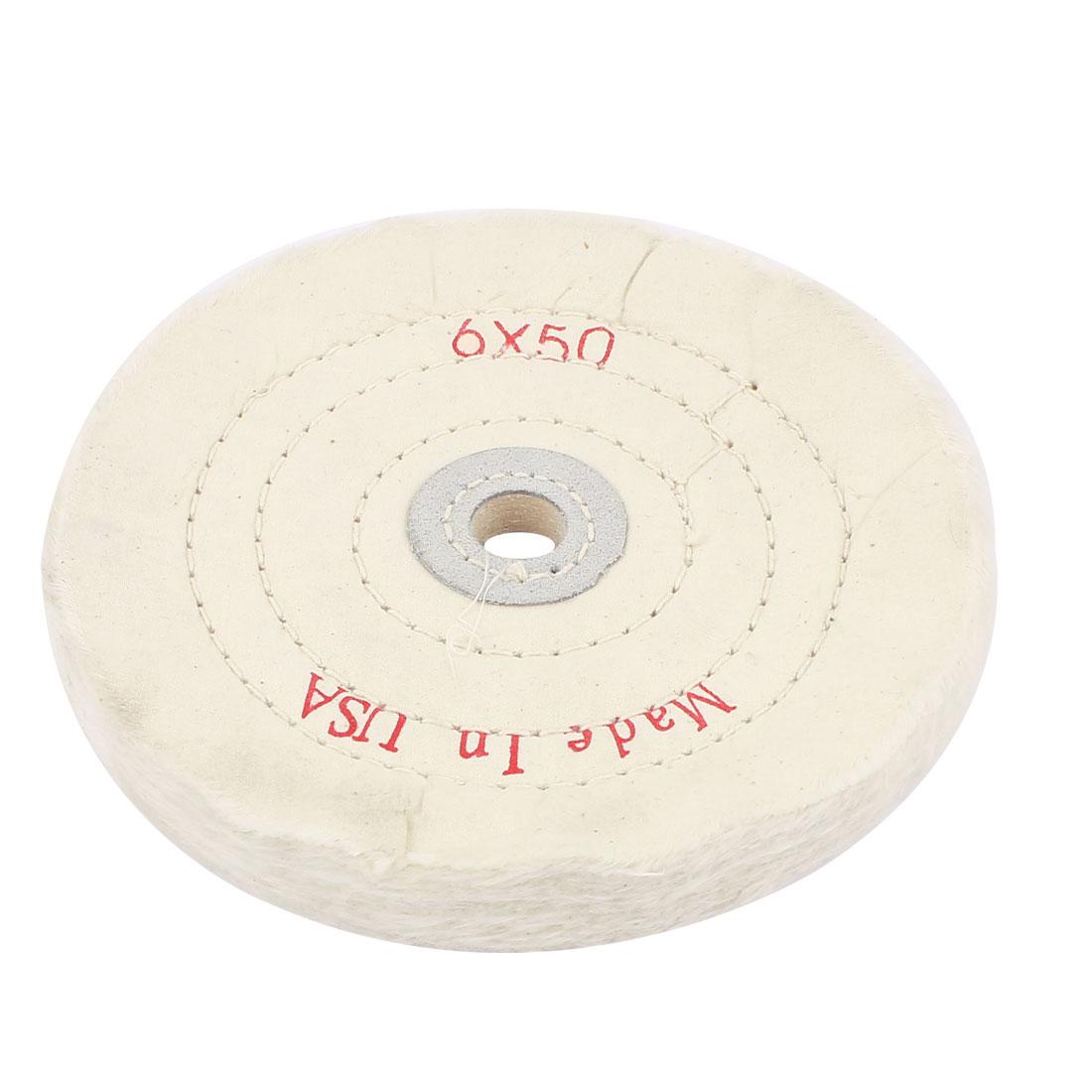 "5/8"" Arbor Hole 6"" x 50-Ply Soft Cotton Muslin Full Sewn Polishing Wheel"
