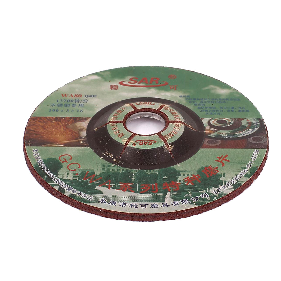 100mm x 16mm x 3mm 80 Grit Abrasives Sanding Disc Stainless Steel Grinding Wheel