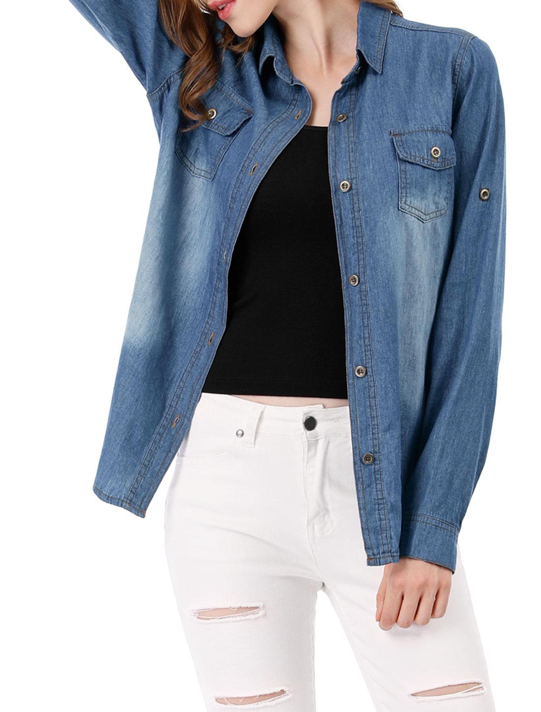 Women Long Sleeves Chest Pockets Western Denim Shirt Dark Blue M