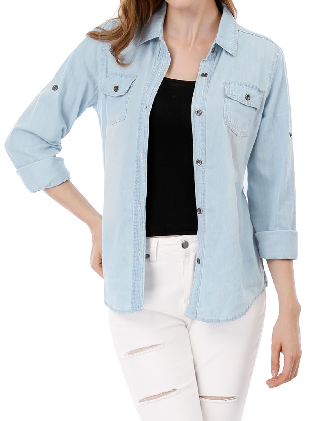 Women Single Breated Flap Pockets Front Western Denim Shirt Light Blue XS