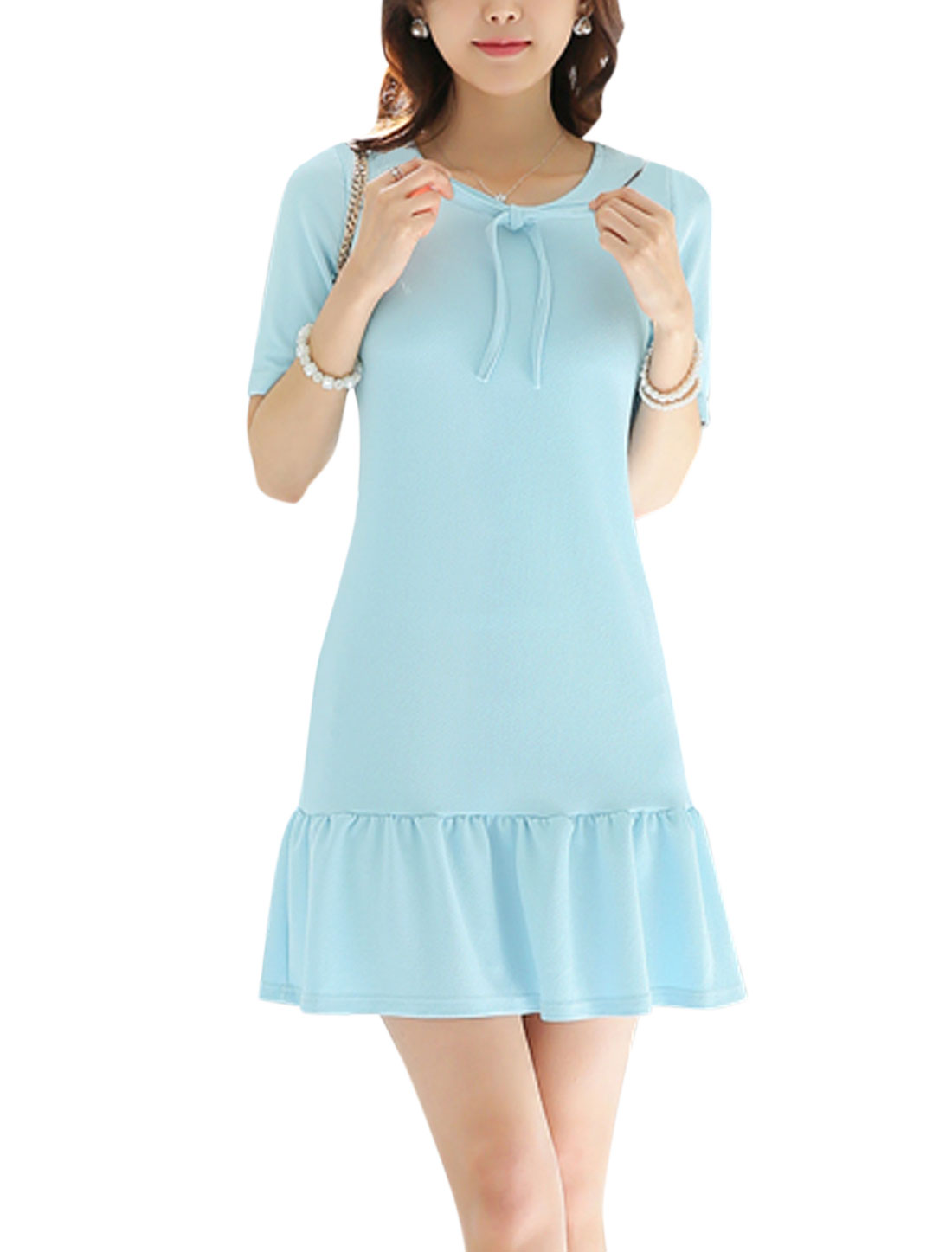 Ladies Short Sleeve Round Neck Texture Unlined Casual Dress Sky Blue M