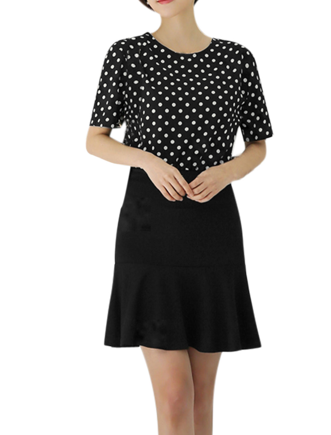 Women Polka Dots Prints Round Neck Flouncing Hem Dress Black XL