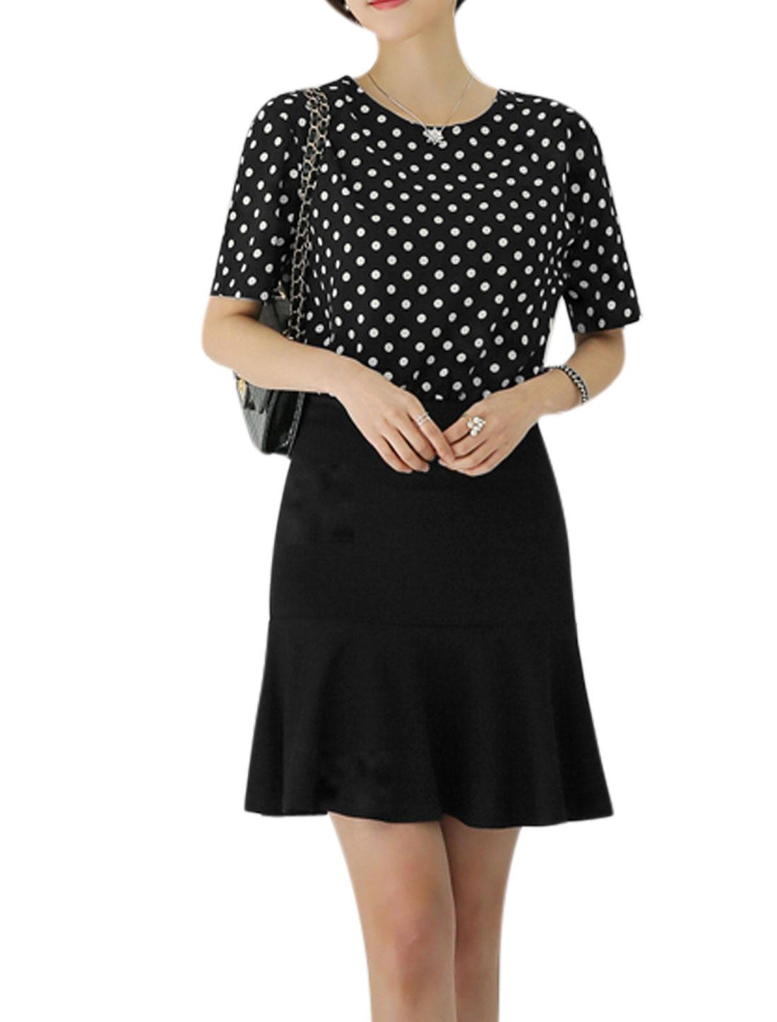 Women Polka Dots Prints Fully Lined Flouncing Hem Dress Black M