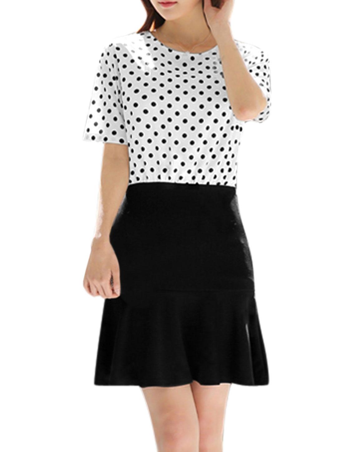 Women Polka Dots Prints Flouncing Hem Concealed Zipper Dress White XL