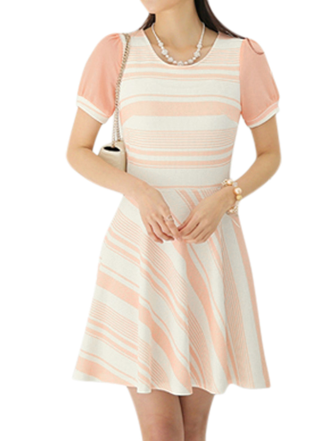 Women Short Sleeve Stripes Texture Casual Summer Dresses Pale Pink White L