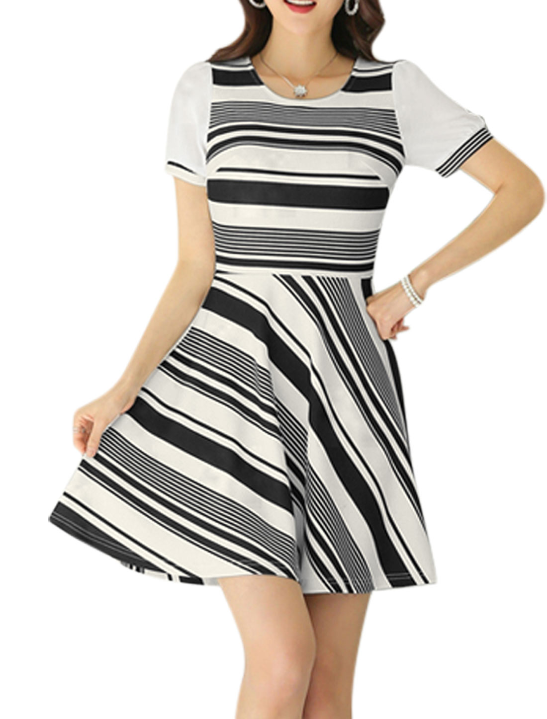 Women Short Sleeve Stripes Texture Unlined Casual Dresses Black White L