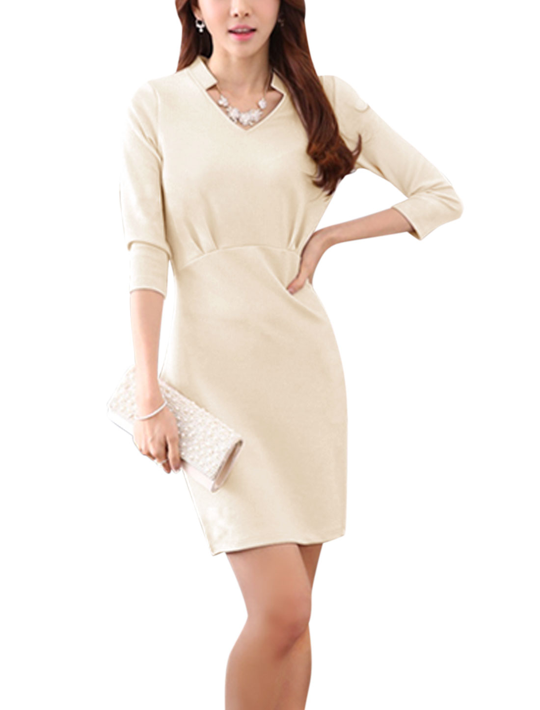 Women 3/4 Sleeve Texture Casual Sheath Dresses Pale Pink L