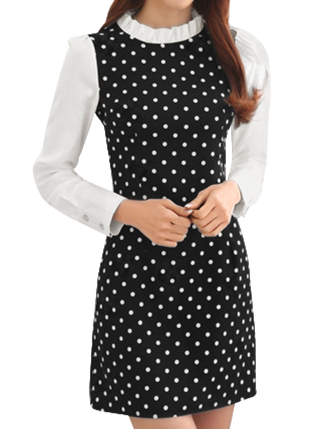 Women Ruffled Collar Long Sleeves Dots A-Line Dress Black M