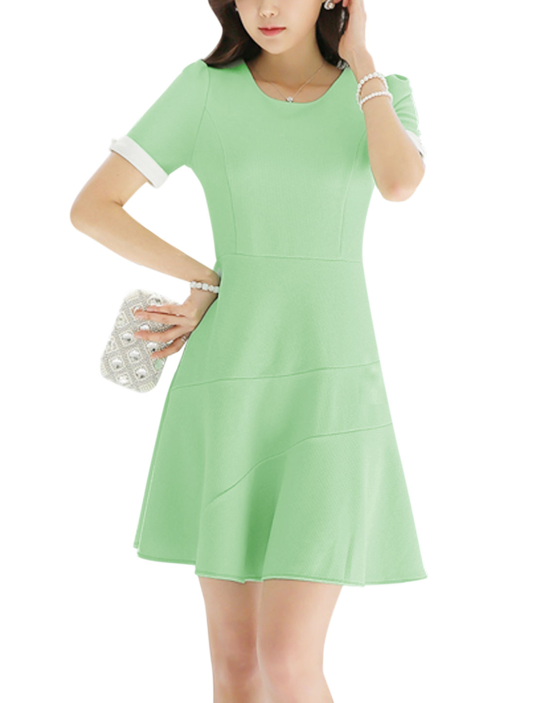 Ladies Short Sleeve Round Neck Texture Unlined Casual Dress Mint L