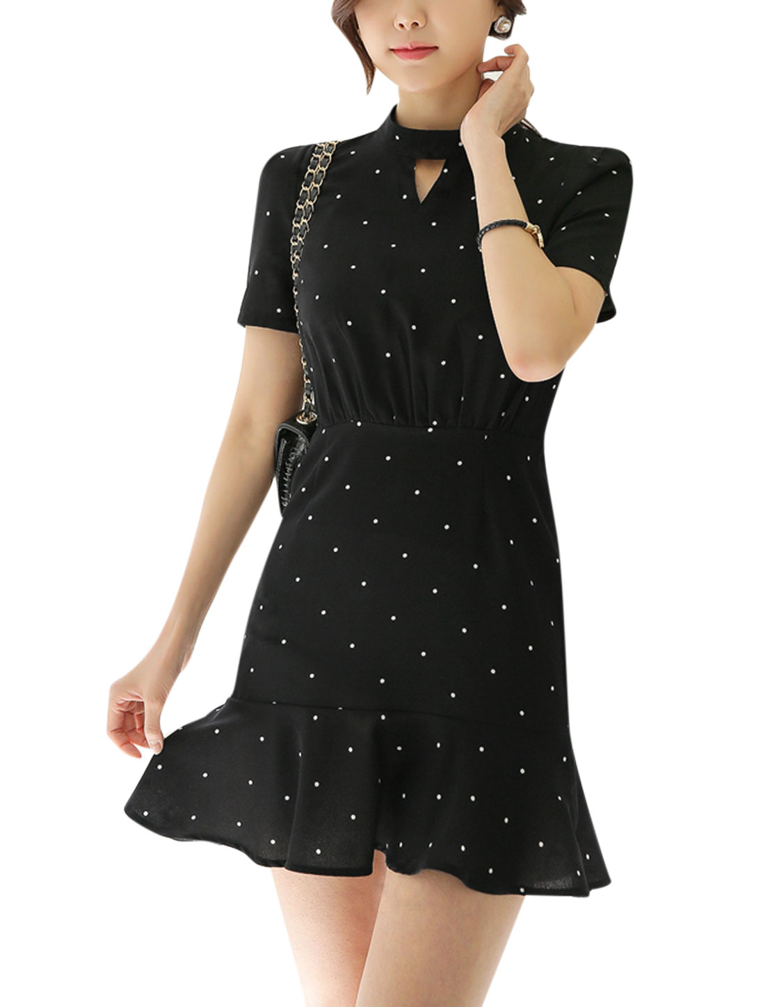 Women Dots Prints Stand Collar Flouncing Hem Cut Out Front Dress Black L