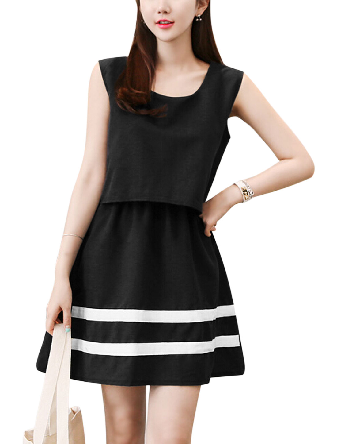 Women Sleeveless Panel Layered Casual A Line Dresses Black M