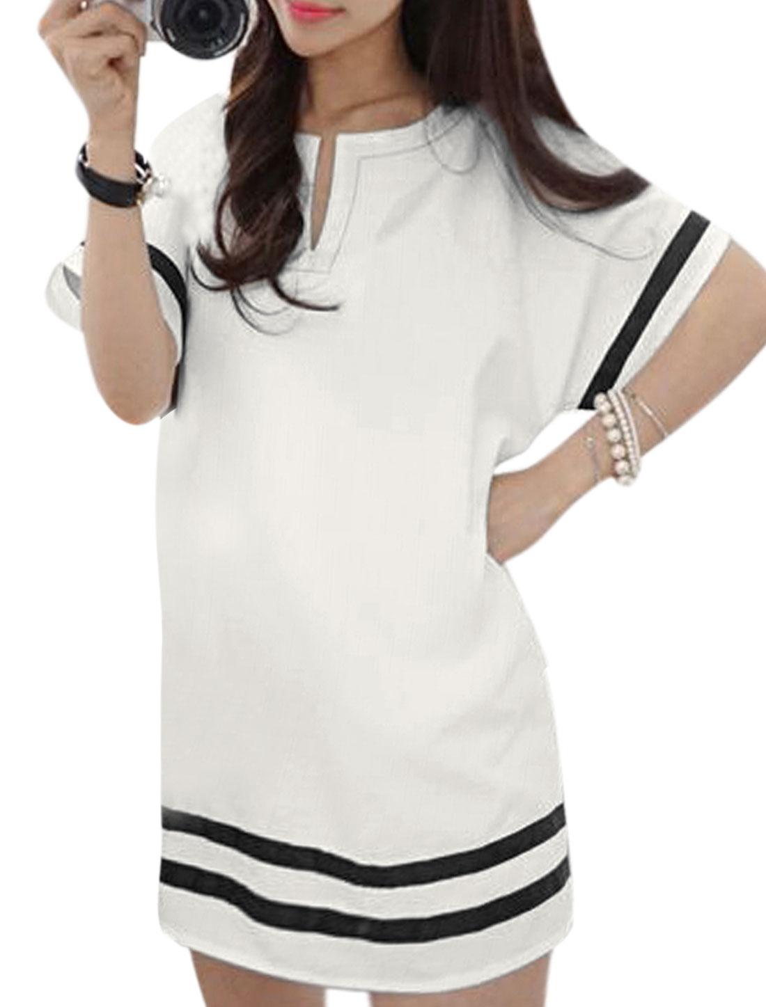 Ladies Short Raglan Sleeve Split Neck Stripes Panel Casual Dress White XS