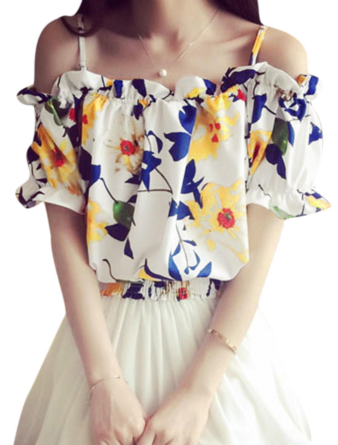 Woman Floral Prints Cut Out Shoulder Smocking Hem Top White XS