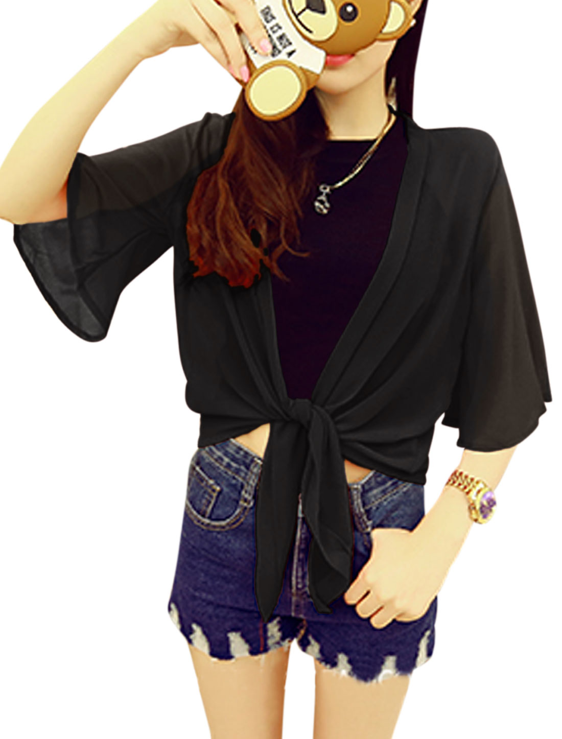 Woman 3/4 Sleeve Semi Sheer Summer Relaxed Chiffon Top Black XS