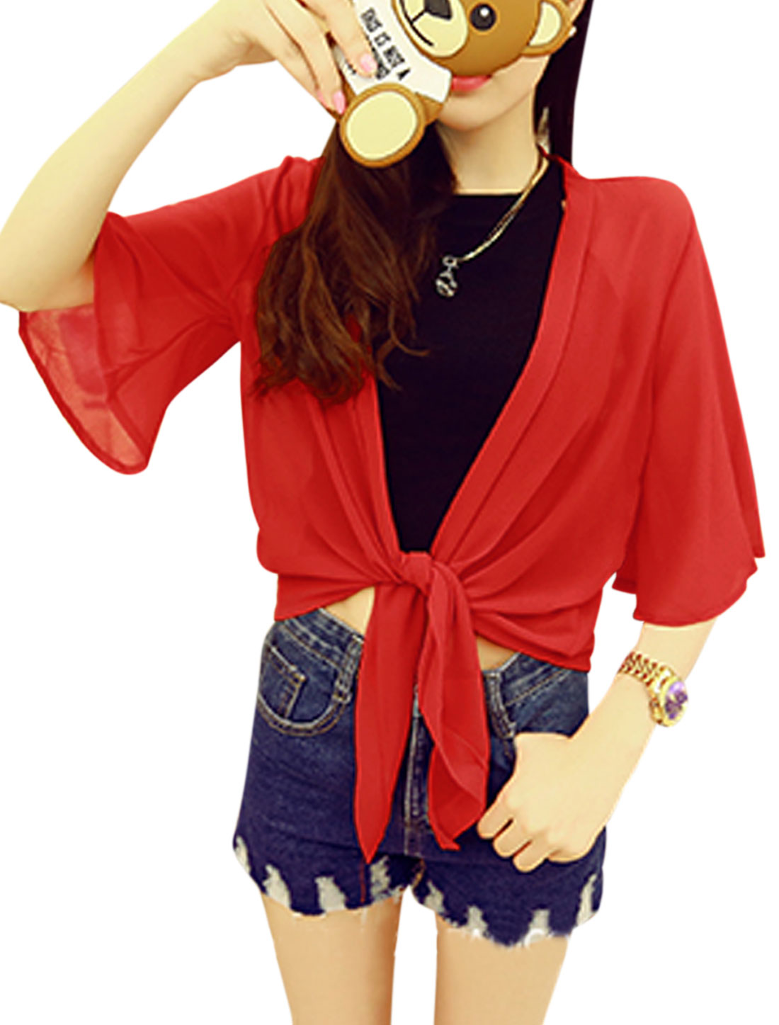 Women 3/4 Sleeve Front Opening Summer Casual Chiffon Cardigans Red XS