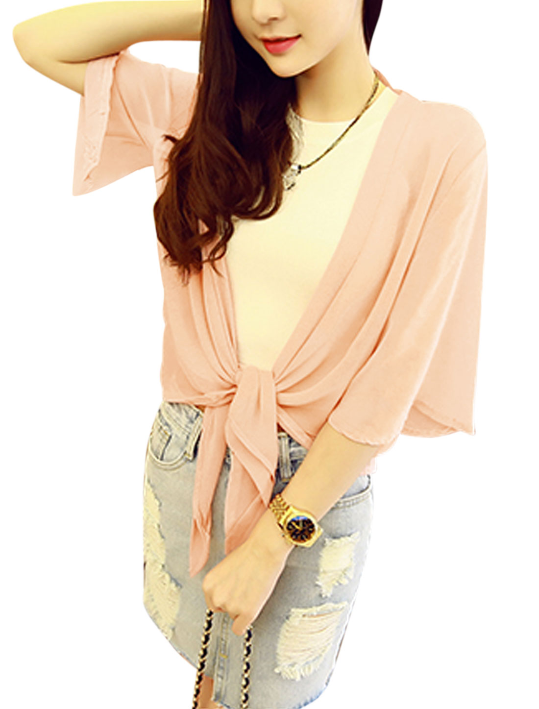Ladies 3/4 Sleeve Semi Sheer Front Opening Summer Chiffon Cardigan Pink XS