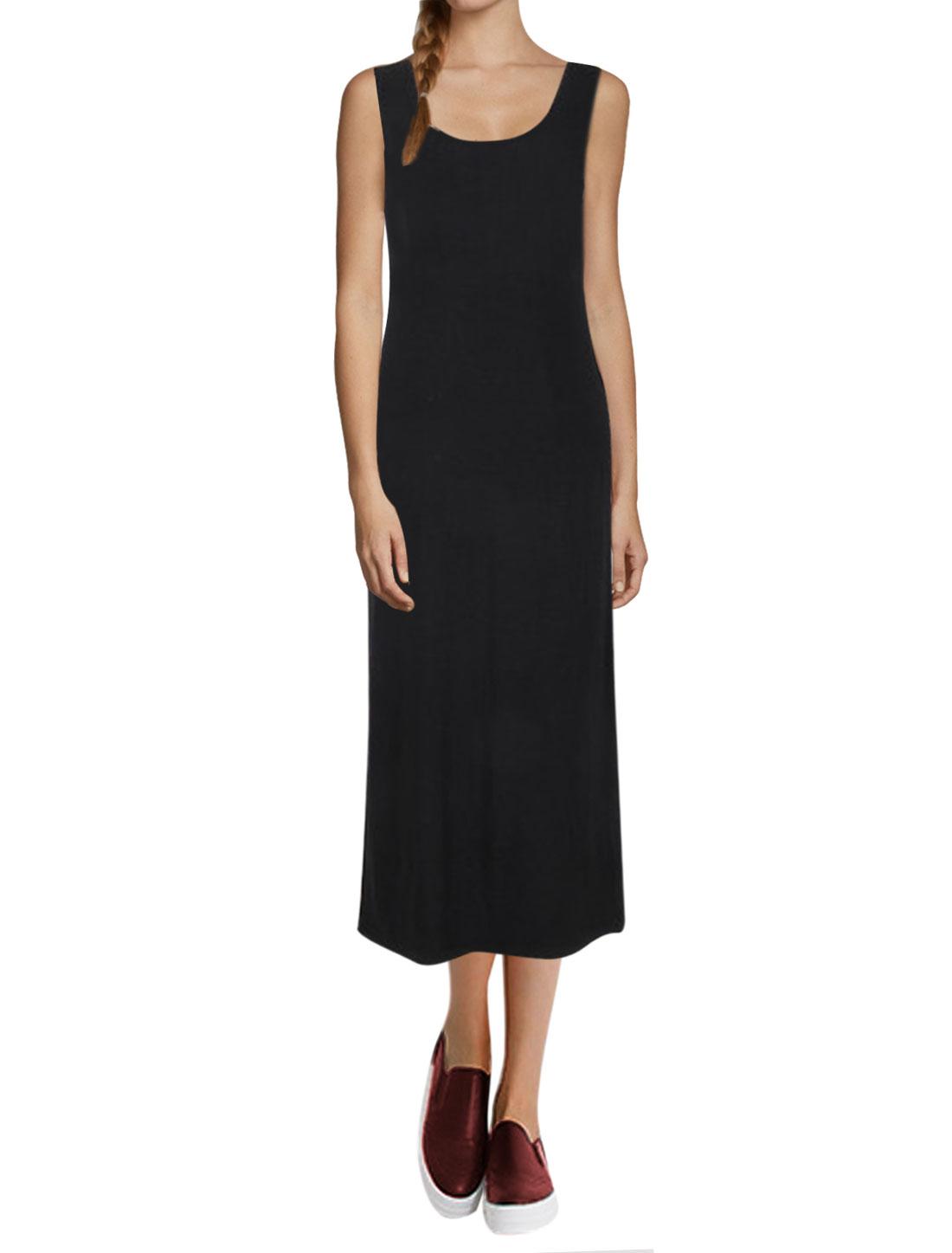 Women Scoop Neck Sleeveless Crochet Back Unlined Midi Dress Black M