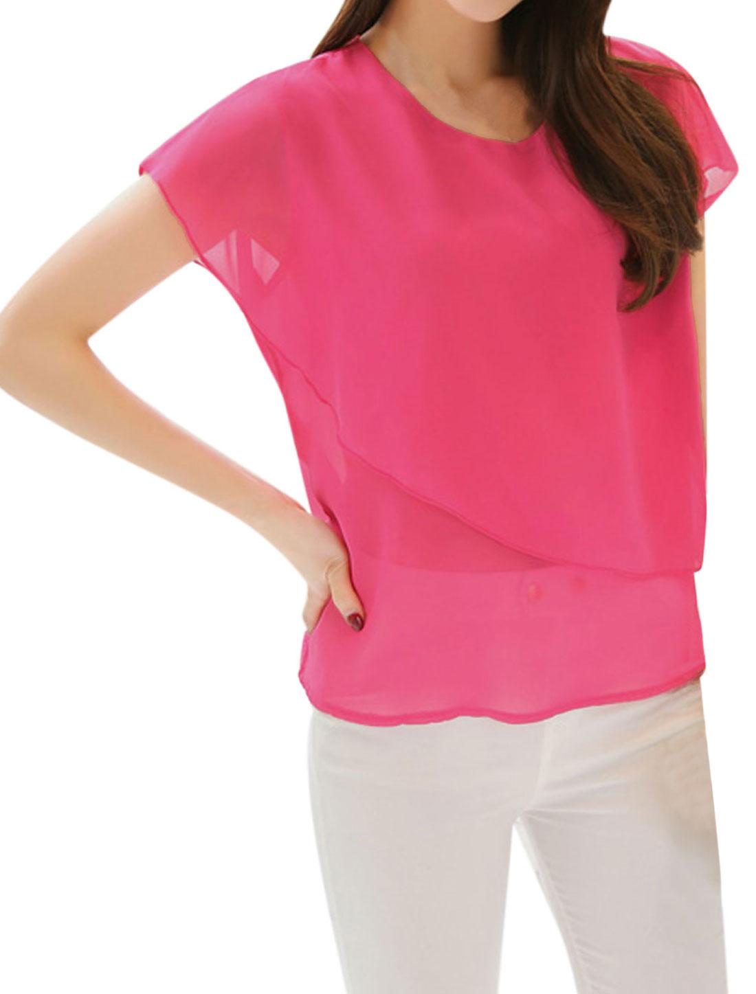 Women Round Neck Short Sleeves Overlay Chiffon Shirts Fuchsia M