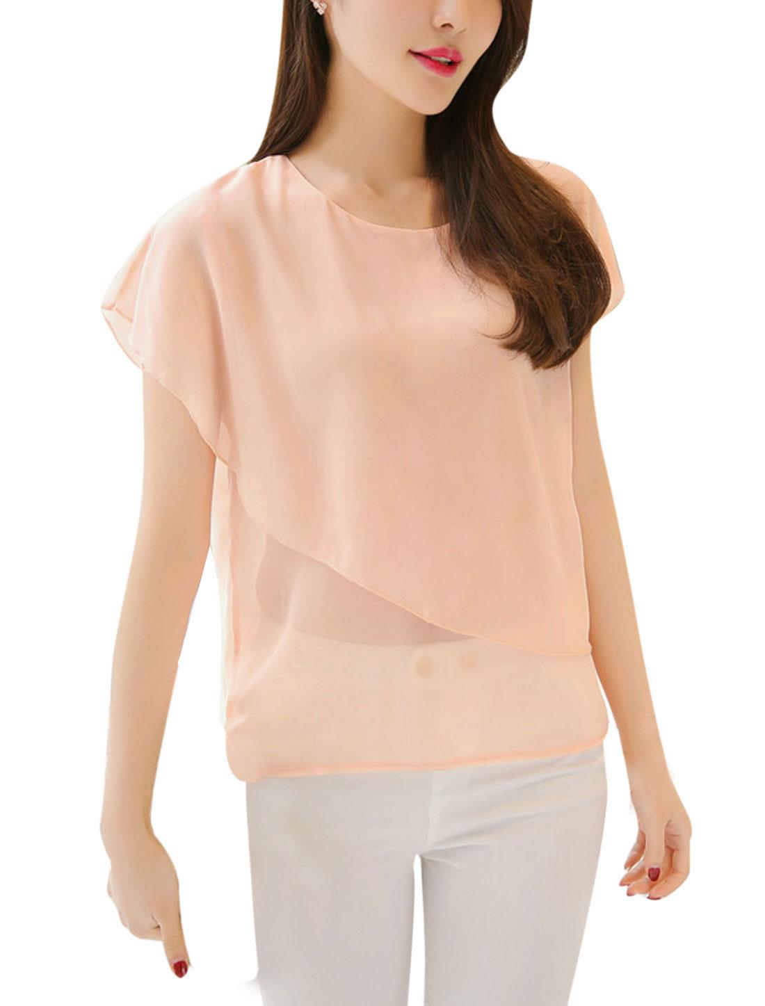 Ladies Round Neck Short Sleeves Overlay Chiffon Shirts Pale Pink M