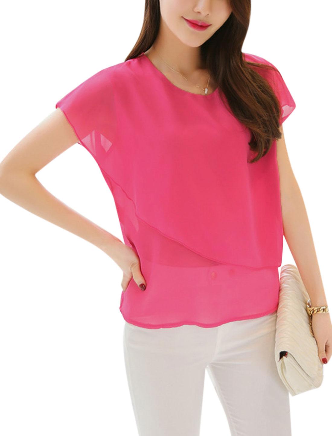 Lady Short Sleeves Overlay Slipover Chiffon Tops Fuchsia XS