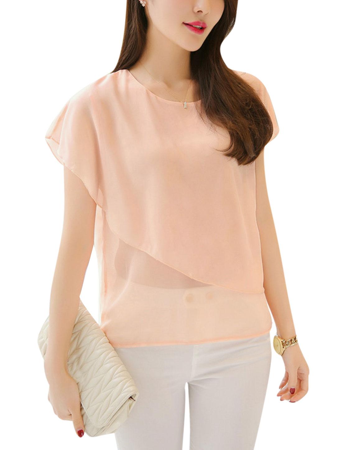 Women Short Sleeves Round Neck Chiffon Tops Pale Pink XS