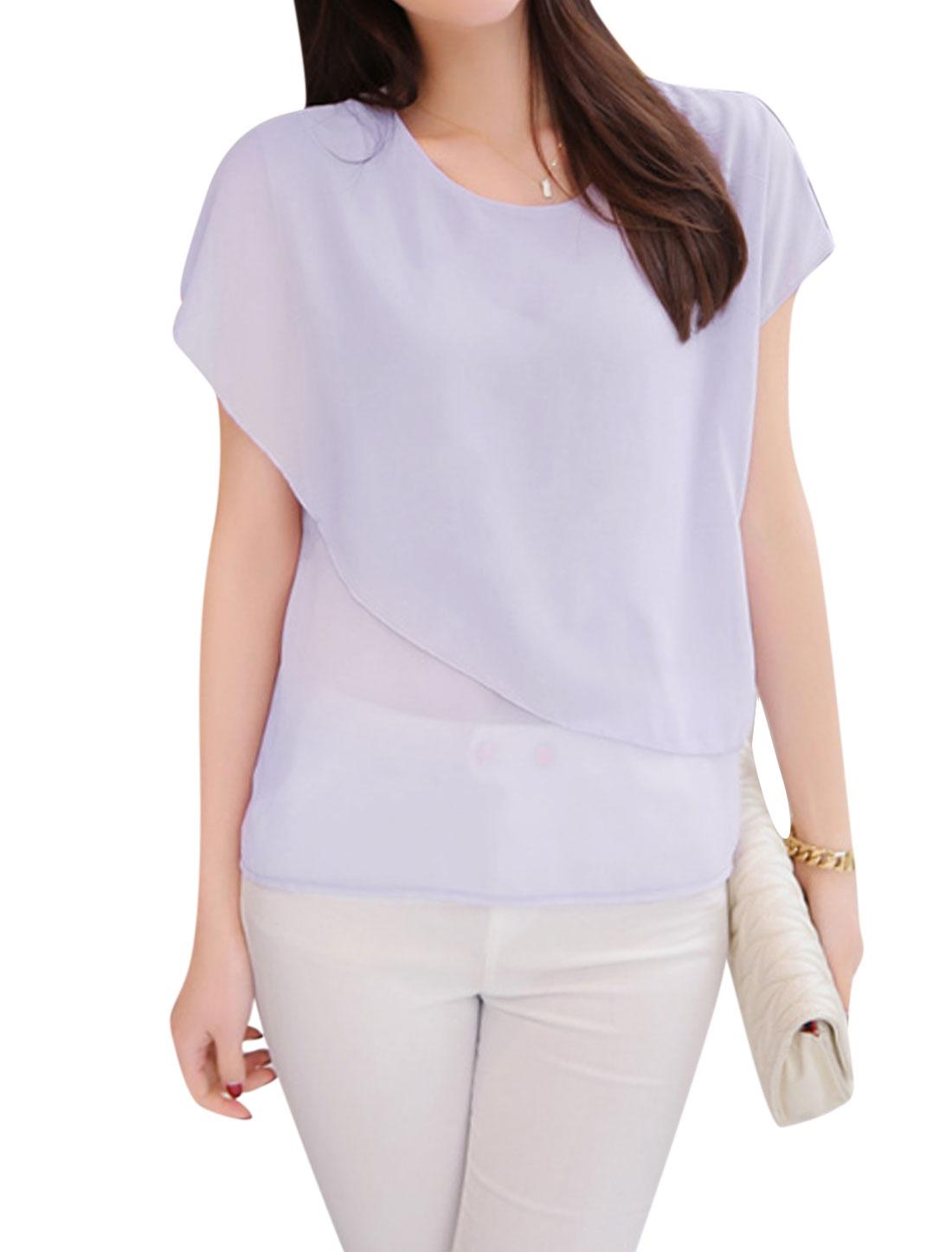 Ladies Short Sleeves Overlay Chiffon Tops Lavender XS