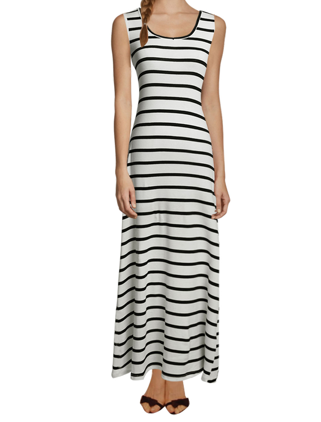 Ladies Scoop Neck Stripes Print Cut Out Back Casual Maxi Dress White Black M