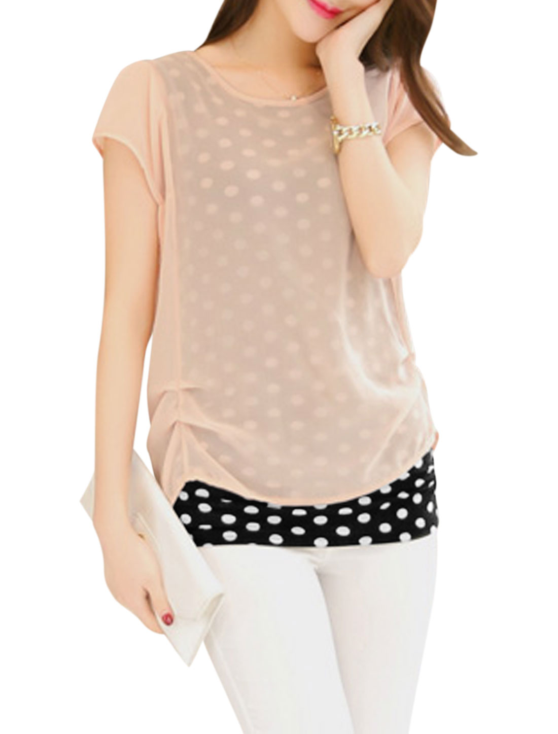 Women Round Neck Dots Prints Layered Casual Blouse Pale Pink M