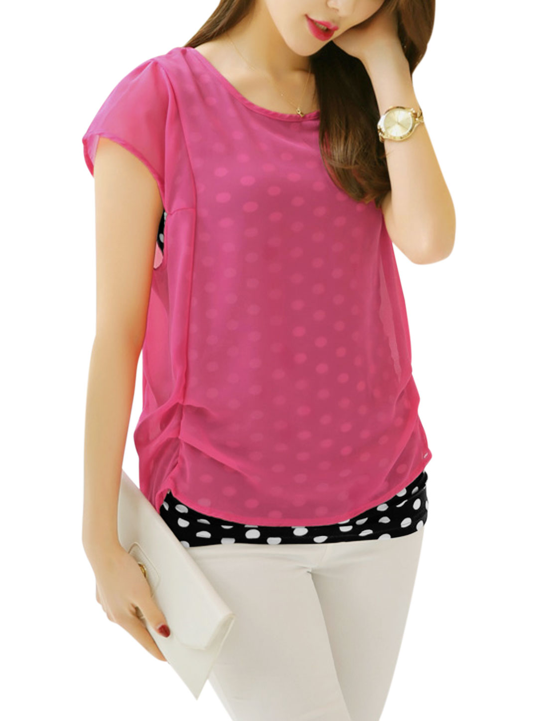 Ladies Short Sleeve Dots Prints Layered Casual Blouses Fuchsia M