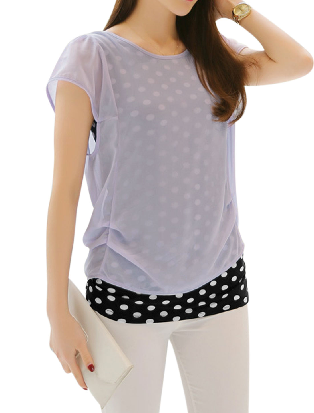 Ladies Round Neck Dots Prints Layered Casual Relaxed Shirt Lavender M