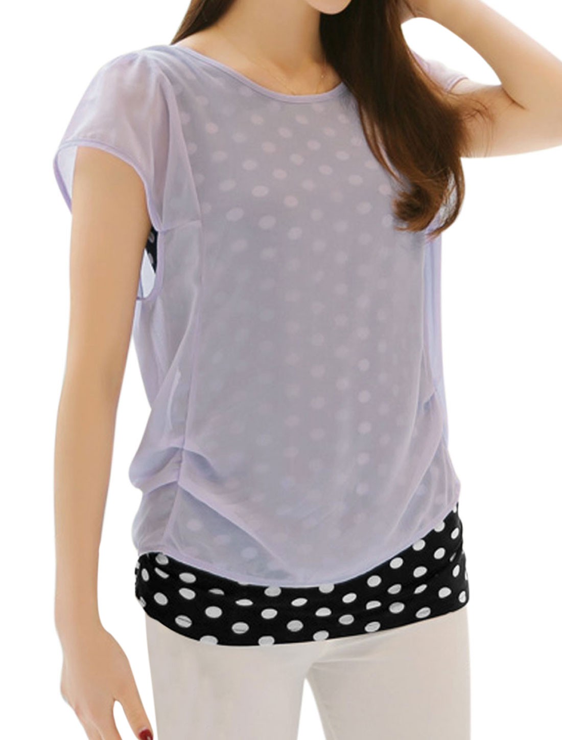 Ladies Short Sleeve Dots Prints Layered Tops Lavender XS