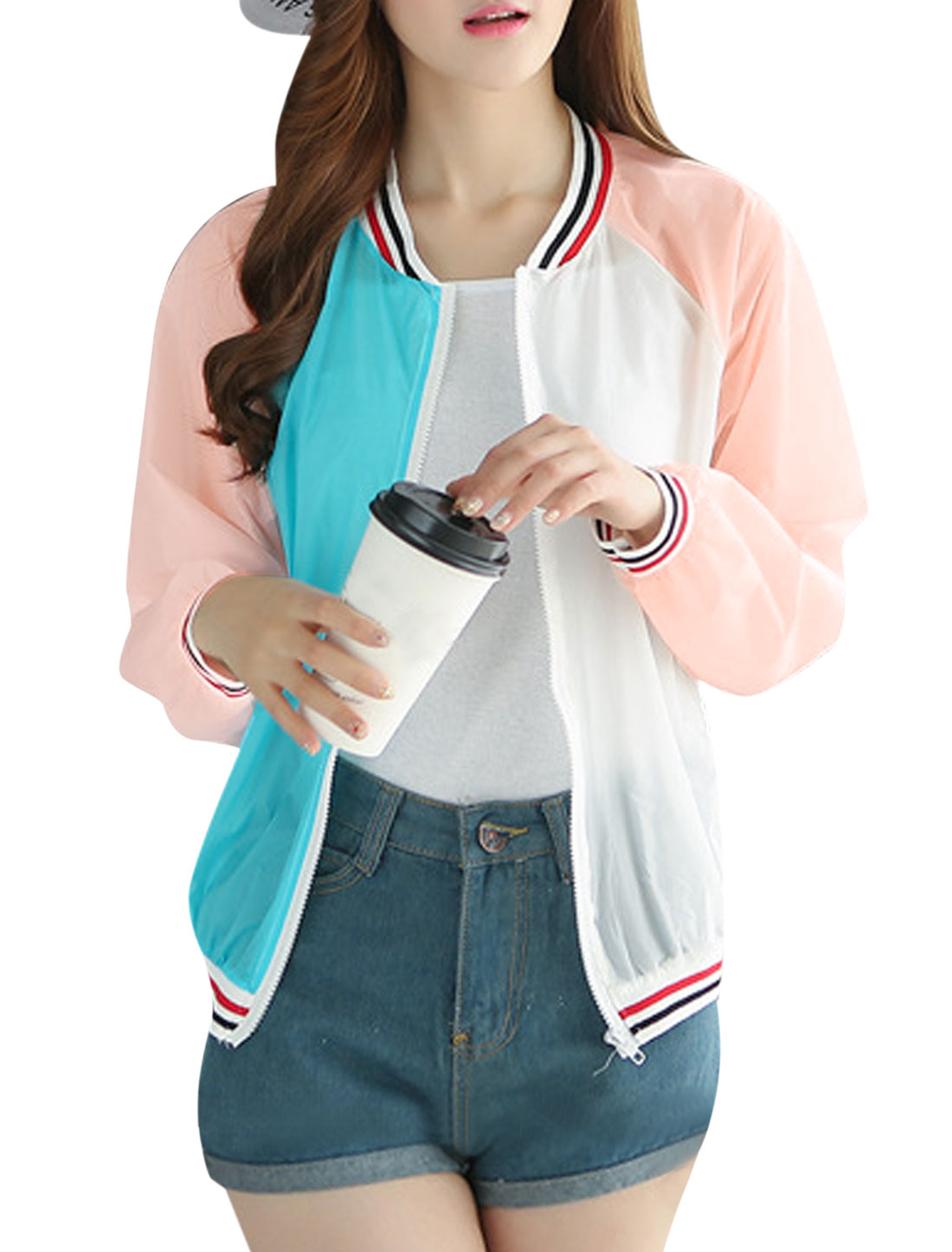 Women Stand Collar Full Zip Long Raglan Sleeves Jackets Pale Pink XS