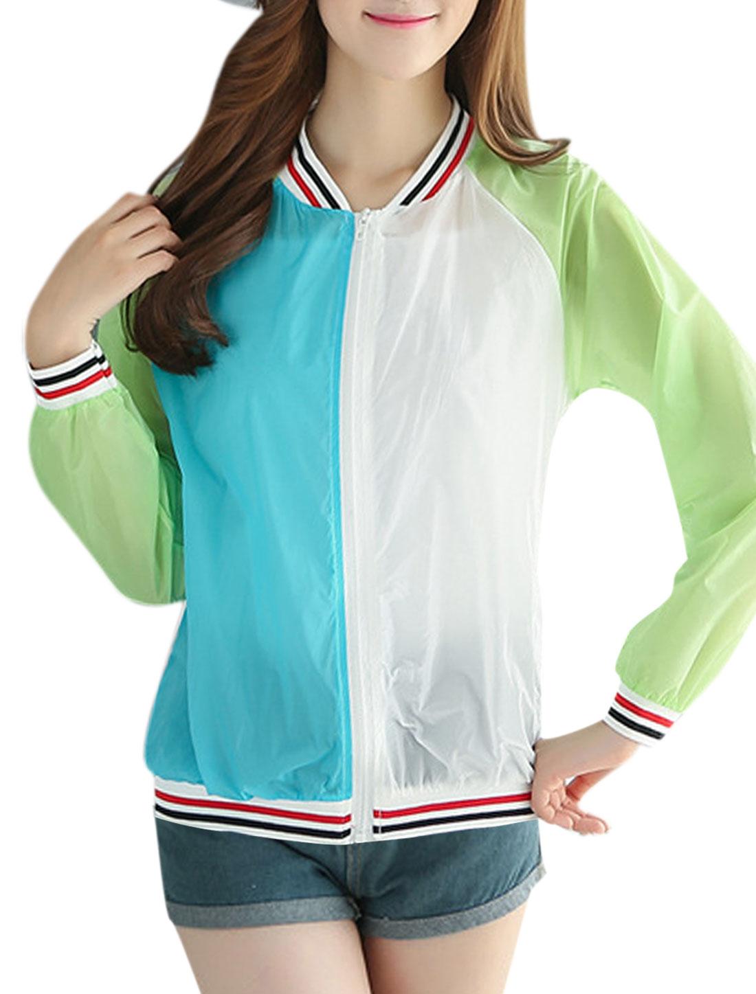 Lady Full Zip Stripes Trim Color Block Jackets Light Green XS