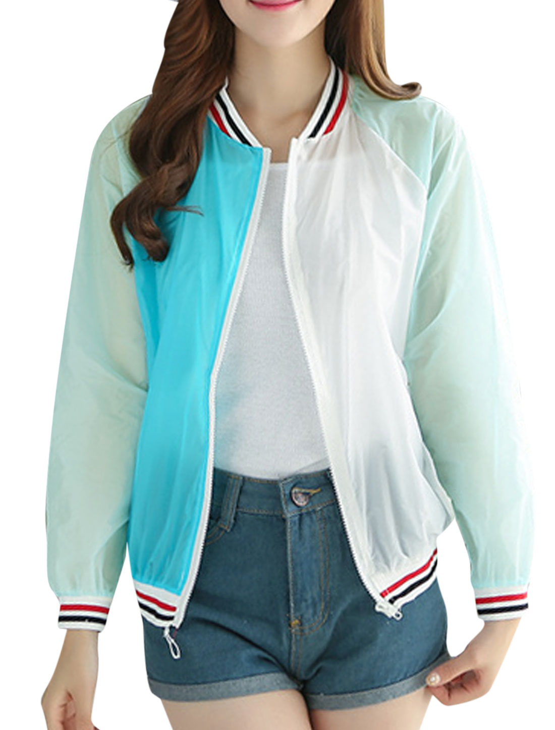Lady Full Zip Long Sleeves Color Block Jackets Mint XS