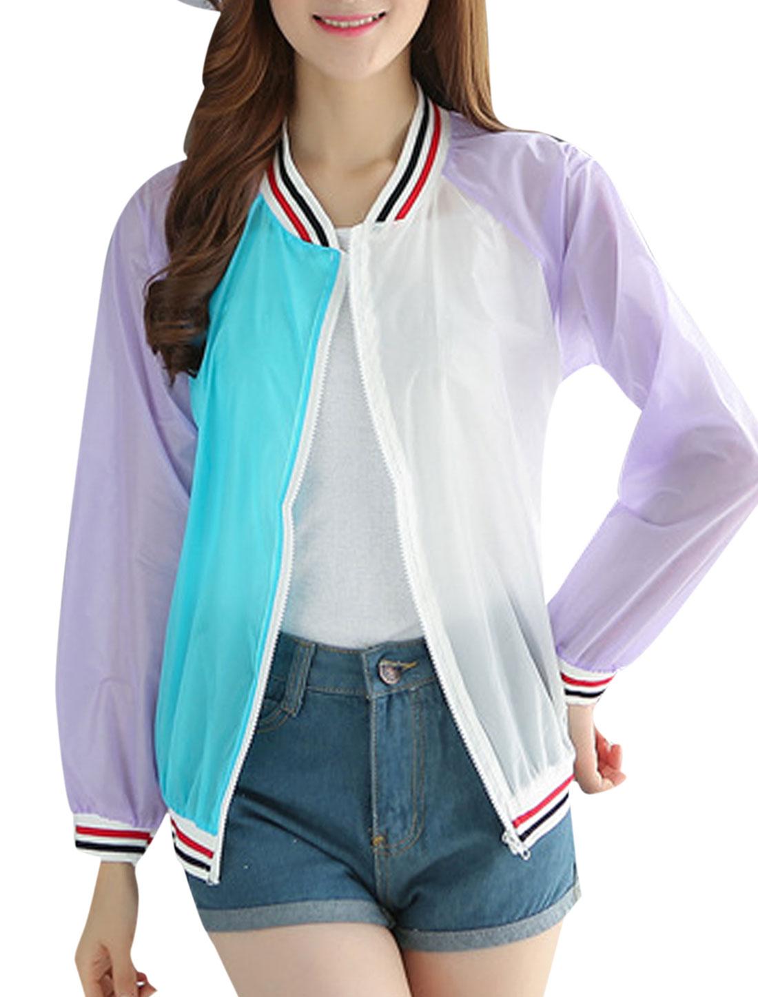 Women Full Zip Stand Collar Semi Sheer Basic Jackets Lilac XS