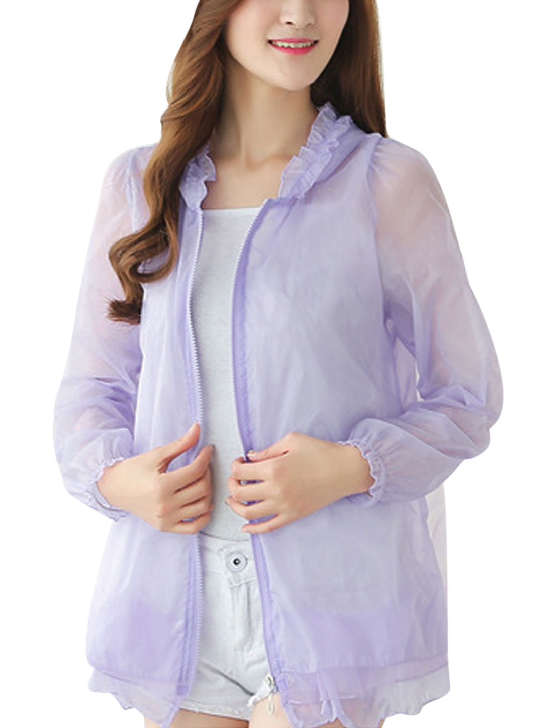 Ladies Full Zip Organza Panel Tiered Hooded Jackets Lilac XS