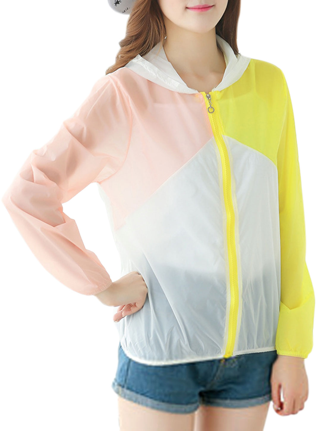 Woman Color Block Zip Up Long Sleeves Elastic Cuffs Summer Hoodies Light Pink Yellow XS